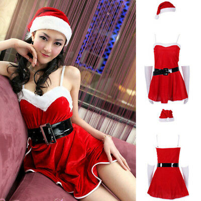 Christmas Women's Sexy Santa Claus Costume Cosplay Party Outfit Fancy Dress USA