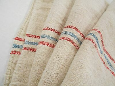 Vtg Antique RED & BLUE STRIPED PATCHED HEMP LINEN Nubby FEED SACK GRAIN BAG