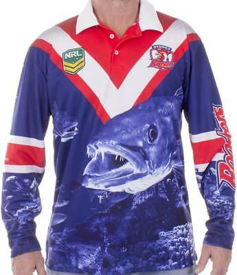 NRL Long Sleeve Fishing Polo Tee Shirt - Sydney Roosters - Adult Youth - Fish