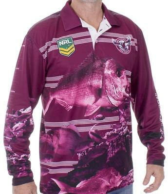 NRL Long Sleeve Fishing Polo Tee Shirt - Manly Sea Eagles - Adult Youth - Fish