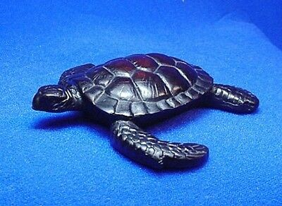 SEA TURTLE ~ African Teak Wood Looking, Dark Brown Resin ~ Statue Free Shipping!