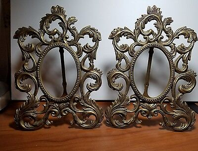 Antique Victorian Ornate Oval Cast Brass Easel Frame Set of 2,  7.5 x 11 inch
