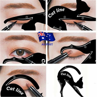 Cat Eye Line Eyeliner Stencil Liner Model Template Makeup Eyebrow Tool Kit vv