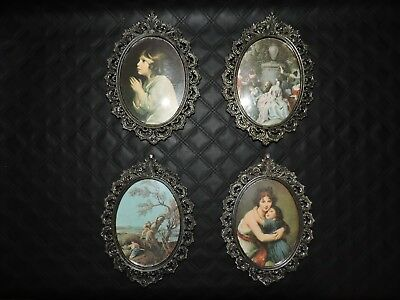 Vintage Ornate Metal Picture Frames Convex Glass Italy Lot of 4