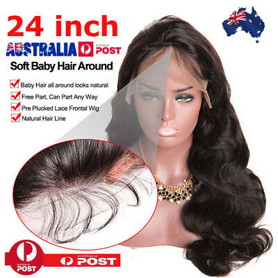 24inch Human Hair Simulated Women Glueless Front Lace Wave Curly Wig Brazilian S