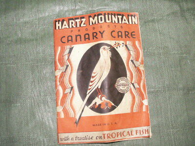 Vintage Hartz Mountain Products Canary Care Treatise on Tropical Fish 1930s-50s