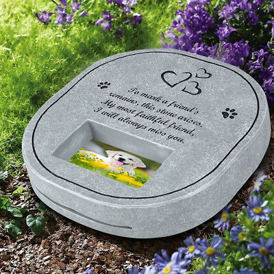 UEETEK Pet Memorial Stone with Photo Frame Paw Print Grave for Dogs Cats AU