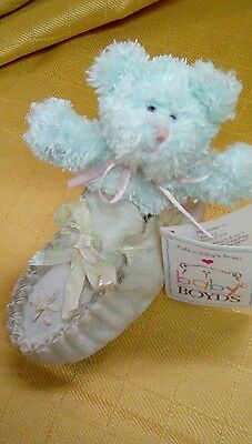 """Boyds Bearfoot Friends QVC Exclusive """"Kaylie...Blessed Steps"""" Resin Shoe/Bear"""