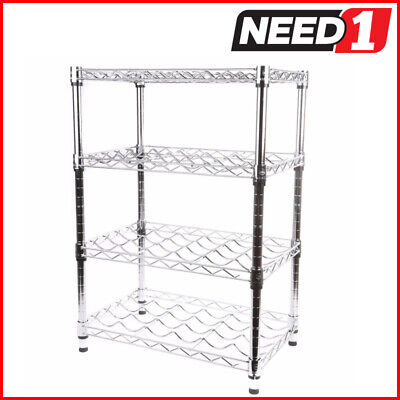 Chrome finish wine rack. 4 tier. Dimensions: 355mm D x 558mm W x 800mm H