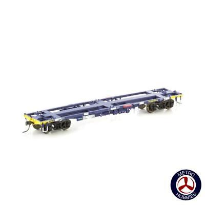 Auscision HO NCW-28 NQYY Container Wagon FreightCorp Blue/Yellow 4pc AM11288 Bra