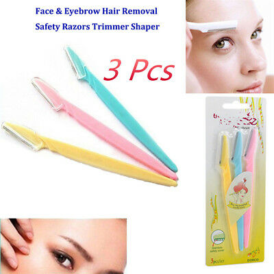 3pcs Women's Face & Eyebrow Hair Removal Razors Trimmer Shaper Cosmetics S4