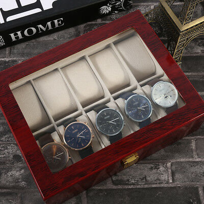1/10 Slot Watch Box Wooden Display Case Organizer Top Jewelry Storage AR1