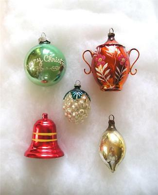 Lot of 5 Vintage 1950s Christmas Ornaments 3 are Glass - 2 are Aluminum