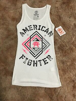 American Fighter Women's Racerback white black and pink tank top large