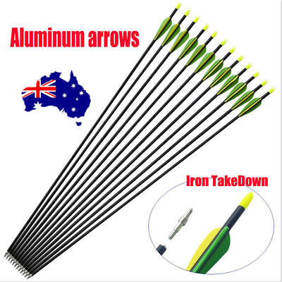 "10x 32"" EXTRA HEAVY DUTY ALUMINIUM ARROWS FOR COMPOUND AND RECURVE BOW ARCHERY 1"