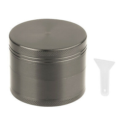4 Piece Magnetic 2.5 Inch Tobacco Herb Grinder Spice Aluminum With Scoop Gray