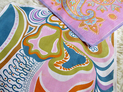 Vintage Cotton Handkerchiefs as new set of two - abstract paisley hankies