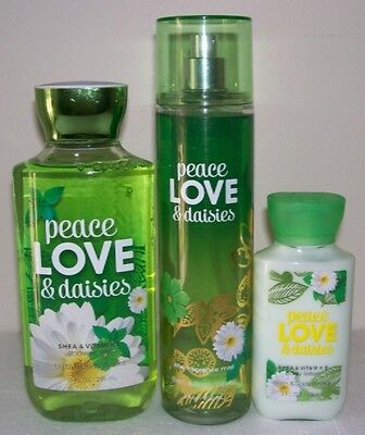 Bath & Body Works Peace Love & Daisies Body Care Set Great Floral Scent!