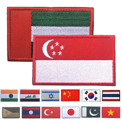 22 Countries Embroidered National Flag Vest Iron-on Patch Emblem Sewing Applique