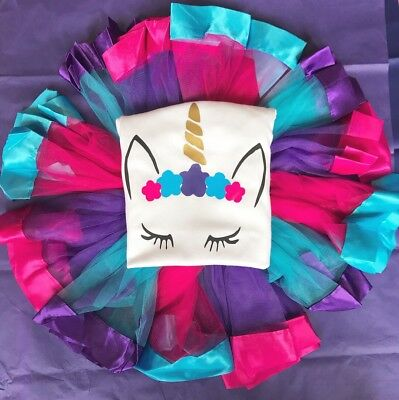 Baby Girl Personalised 1st 2nd birthday Unicorn Top Tutu Outfit Purple Pink