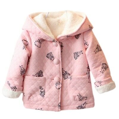Toddler Baby Girls Kids Hooded Coat Fleece Jacket Outfit Clothing Winter AU