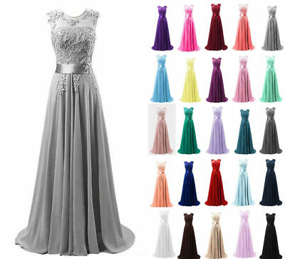Long Chiffon Evening Party Ball Gown prom dress Bridesmaid Dresses UK Size 6-20