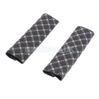 2x Black+White Line PU Leather Soft Car Seat Belt Shoulder Pads Covers