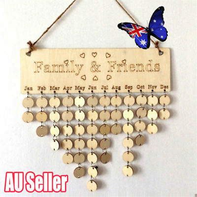 New Family&Friends Wooden  Birthday Hanging Calendar BoardReminder Plaque SN