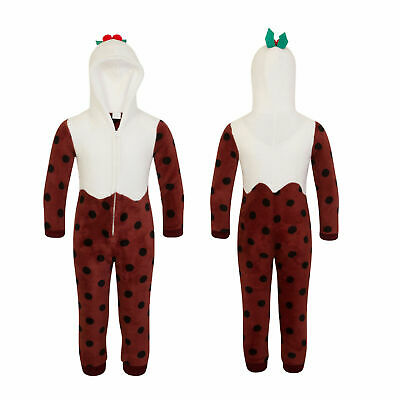 Nifty Kids Christmas Pudding All In Ones Boys Girls Novelty Christmas Loungewear