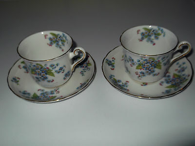 2  1942 + Tuscan China [Plants] Cups And Saucers   In Forget-Me-Not Pattern