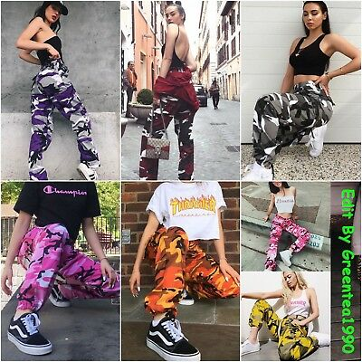 Ladies Camo Cargo Pants Casual Long Trousers Women Workwear Sports Pockets Jeans