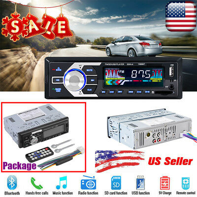 1 DIN Car Stereo 12V FM Radio SD/USB/AUX Bluetooth Remote Head Unit MP3 Player P