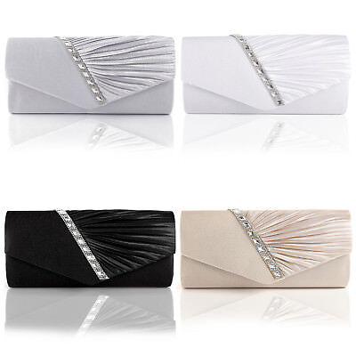 Women Satin Diamante Trim Wedding Shoulder Bridal Handbag Evening Clutch Bag