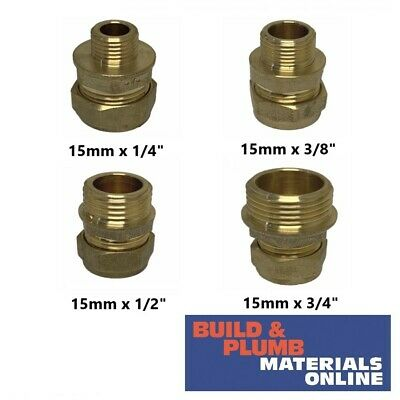 Brass Compression Male Iron Straight Pipe Plumbing Fittings Couplings 15mm