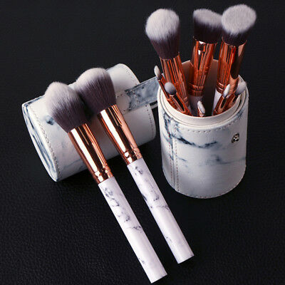 10pcs Face Eye Powder Foundation Eyeshadow Marble Pattern Makeup Brush Set AR1