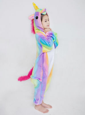 Kids Rainbow Unicorn Kigurumi Animal Cosplay Costume OnesieX1 Pajamas Sleepwear