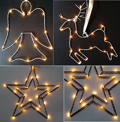 Christmas LED Wire Metal Double Star/Reindeer/Angel Hanging Decoration Tree Xmas
