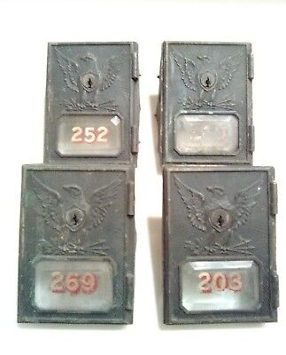 4 Vintage/Antique Post Office Box Doors 1895 Yale & Town