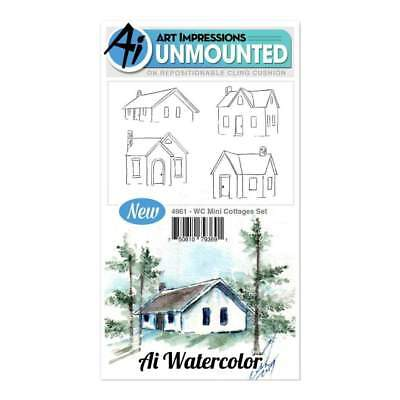 Art Impressions Watercolor Cling Rubber Stamps 4 inch X7 inch - Mini Cottages
