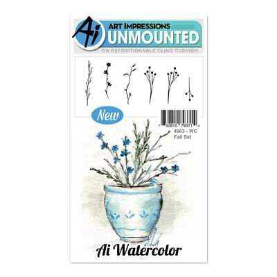 NEW Art Impressions Watercolor Cling Rubber Stamps 4 inch X7 inch - Fall