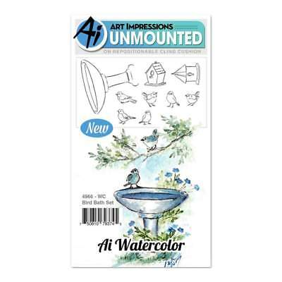 NEW Art Impressions Watercolor Cling Rubber Stamps 4 inch X7 inch - Bird Bath