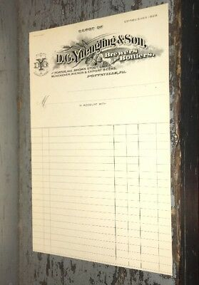 Rare 1880s D.G. YUENGLING BREWERS LETTERHEAD NOS