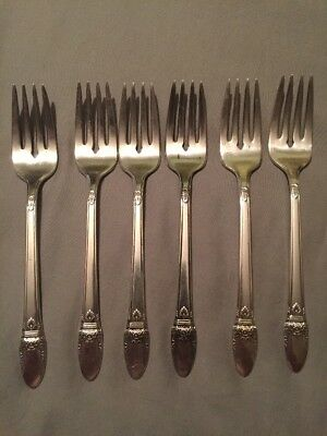 6 Rogers Bros International Silver First Love Silverplate Salad Forks