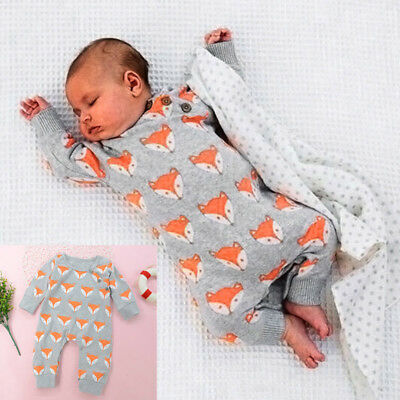 Newborn Infant Baby Girls Boys Warm Romper Jumpsuit Clothes Long Sleeve Outfits