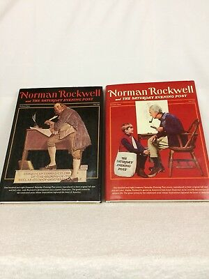 Norman Rockwell Set Of 2 Large Coffee Table Books 1976 Magazine Cover Collection