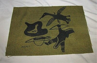 "Helen Kalvak ""holman Duck Hunt"" Silkscreen On Burlap Inuit Artist"