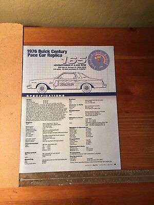 1976 Buick Century Pace Car Replica Specification Sheet Magazine Ad