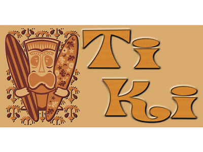 Bn0927 Exotically-Themed Casual Tiki Bar Is Open Mask Huts Decor Banner Sign
