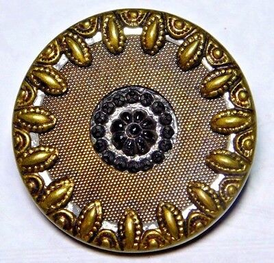 """ANTIQUE Vintage Button Candy Mold Black GLASS in BRASS Twinkle 1.0"""""""