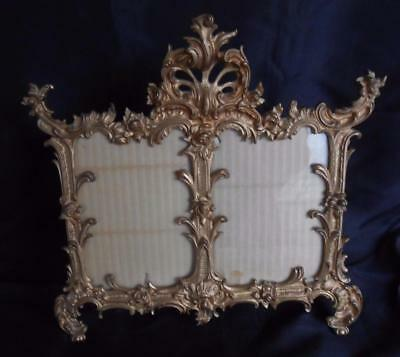 ANTIQUE VICTORIAN 1899 Ornate ROSES Gold Metal DOUBLE PHOTO EASEL FRAME